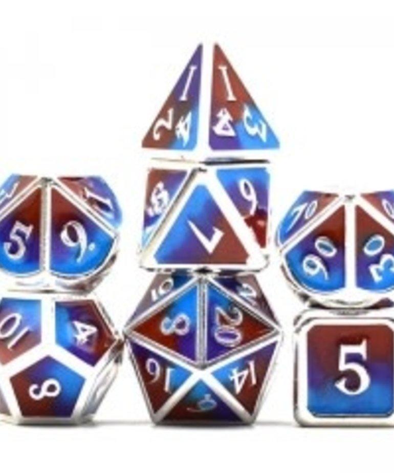 Udixi Dice - UDI Udixi: Dice - Polyhedral 7-Die Set - Three Powder Color/Metal - Silver-Brown-Purple-Blue