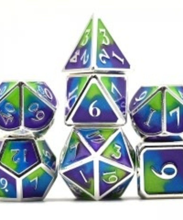 Udixi Dice - UDI Udixi: Dice - Polyhedral 7-Die Set - Three Powder Color/Metal - Silver-Purple-Blue/Green