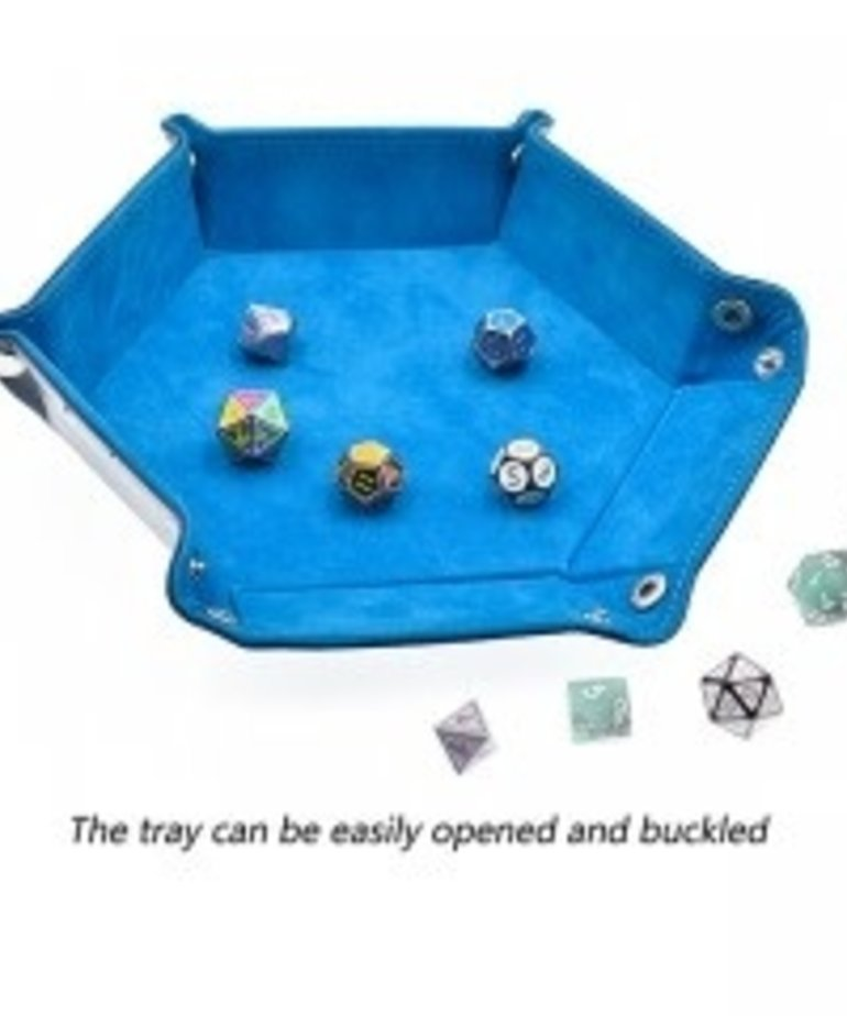 Udixi Dice - UDI Udixi: Dice Tray -  Folding: Hexagon - Sky Blue Velvet