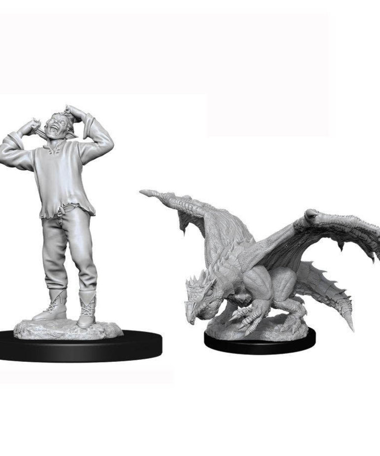 WizKids - WZK D&D: Nolzur's Marvelous Unpainted Miniatures - Green Dragon Wyrmling & Afflicted Elf