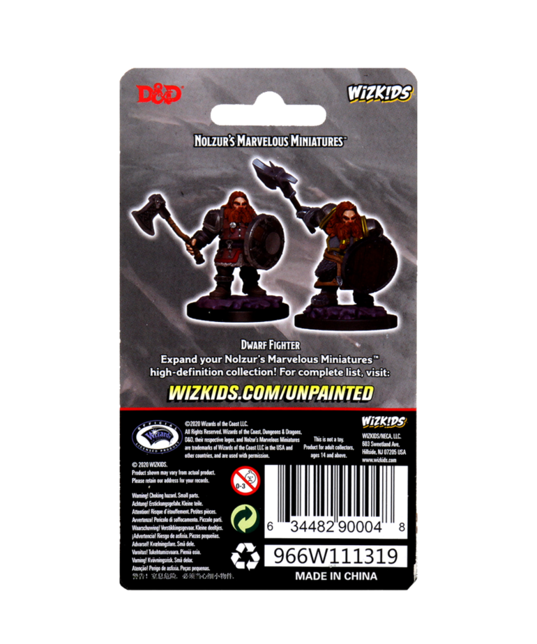 WizKids - WZK D&D: Nolzur's Marvelous Unpainted Miniatures - Dwarf Fighter (He/Him/They/Them)