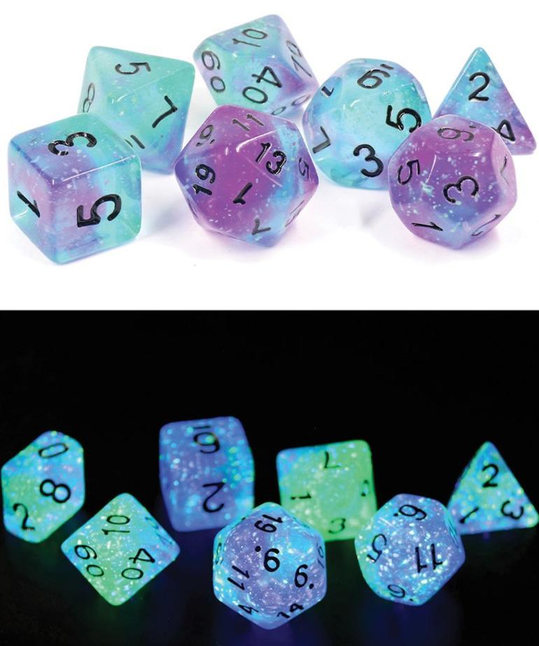 Sirius Dice - SDZ Sirius Dice - Polyhedral 7-Die Set - Peacock Glowworm