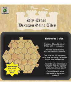 "Role 4 Initiative - R4I Dry-Erase Dungeon Tiles - Earthtone: 6"" Hexagon"