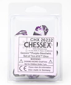 Chessex - CHX 10-die d10 set - Gemini Purple-Steel w/ White