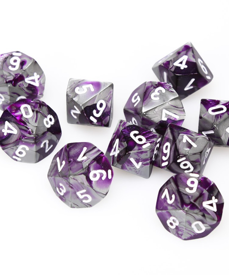 Chessex - CHX Chessex - 10-die d10 set - Gemini Purple-Steel w/ White