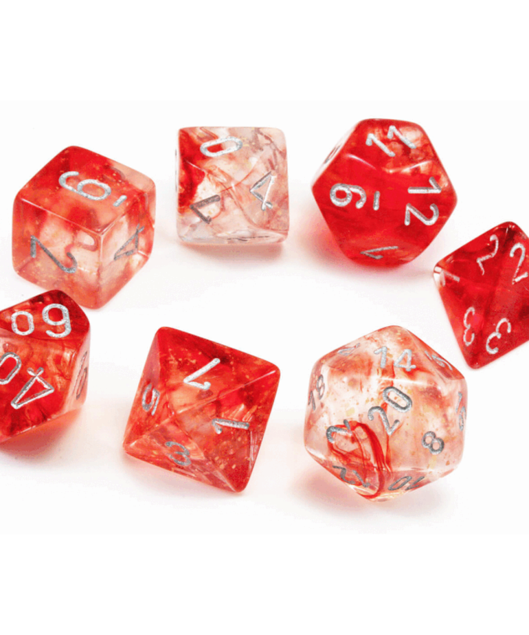 Chessex - CHX Chessex - Polyhedral 7-Die Set - Nebula Luminary - Red w/ Silver