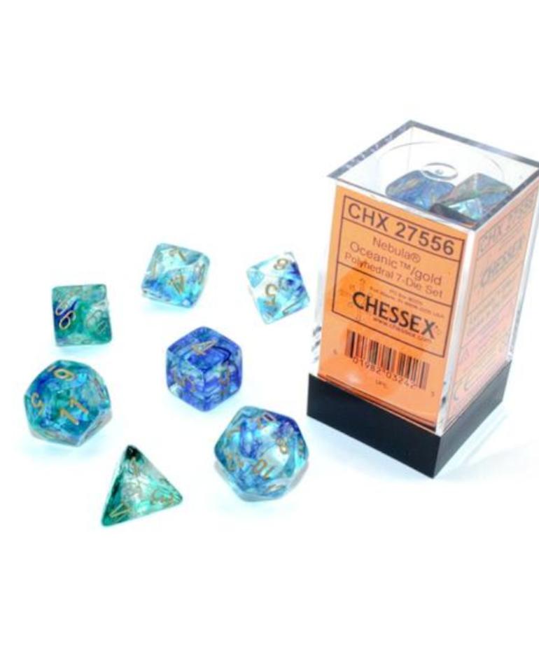 Chessex - CHX Chessex - Polyhedral 7-Die Set - Nebula Luminary - Oceanic w/ Gold