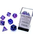 Chessex - CHX Chessex - Polyhedral 7-Die Set - Nebula Luminary - Nocturnal w/ Blue