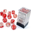 Chessex - CHX Chessex - 16mm Dice Block - Nebula Luminary - Red w/ Silver