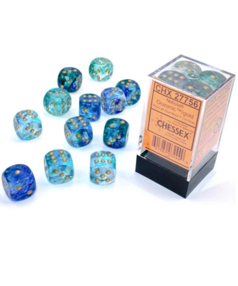 Chessex - CHX Chessex - 16mm Dice Block - Nebula Luminary - Oceanic w/ Gold