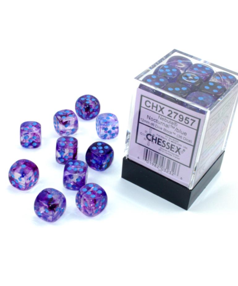 Chessex - CHX Chessex - 12mm Dice Block - Nebula Luminary - Nocturnal w/ Blue