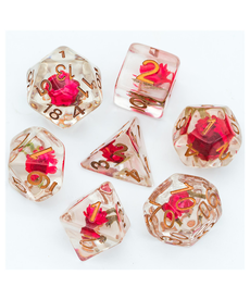 Udixi Dice - UDI Resin Red Flower & Green Leaf - Clear w/ Gold