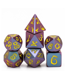 Udixi Dice - UDI Metal - Purple/Blue Light Changer w/ Yellow Dragon Font