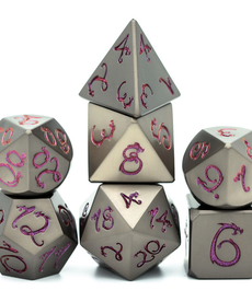 Udixi Dice - UDI Metal - Gunmetal w/ Purple Photosensitive Dragon Font