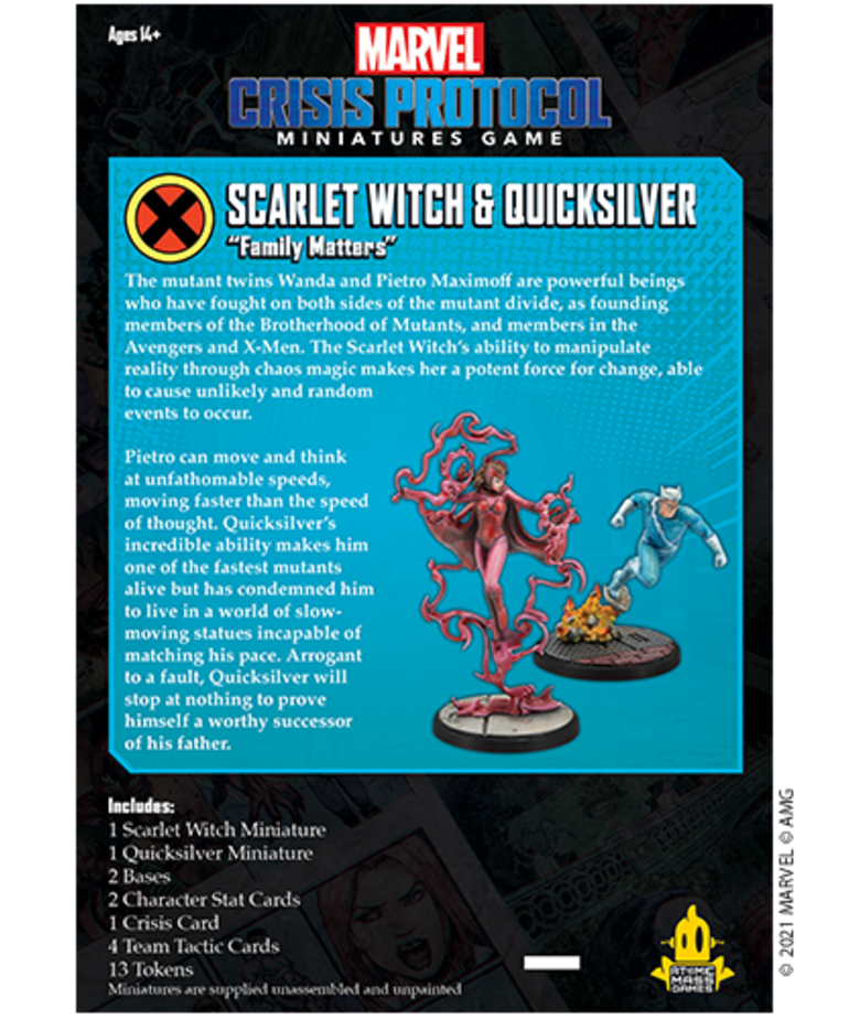 Atomic Mass Games - AMG PRESALE Marvel: Crisis Protocol - Scarlet Witch & Quicksilver - Character Pack - 05/14/2021