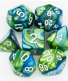 Udixi Dice - UDI Color Mixed - Blue & Green w/ White