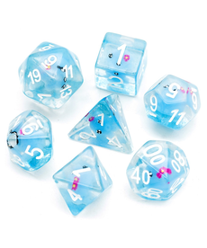 Udixi Dice - UDI Resin Blue Octopus - Clear w/ White