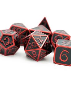 Udixi Dice - UDI Electrophoretic Metal - Red & Black Enamel w/ Cloud Dragon Font