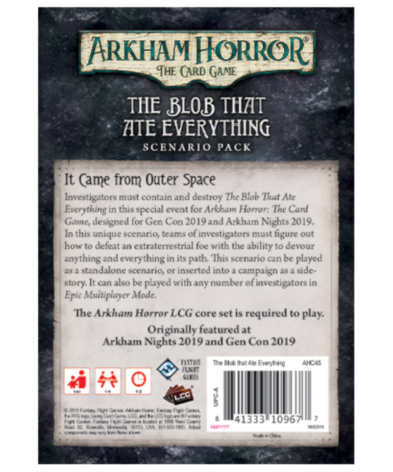 Fantasy Flight Games - FFG Arkham Horror: The Card Game - The Blob That Ate Everything - Scenario Pack