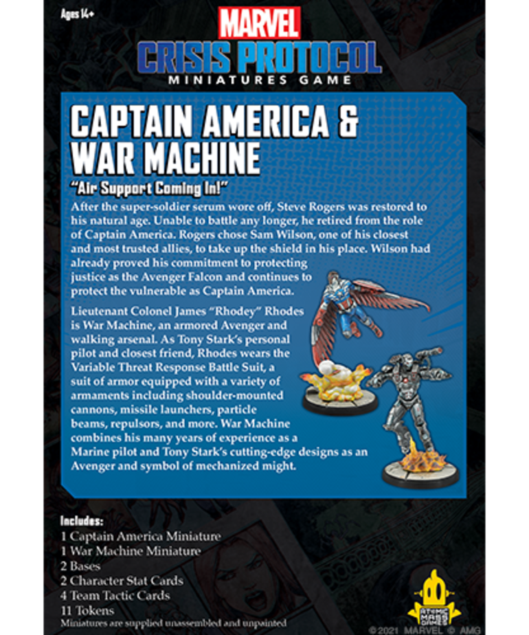 Atomic Mass Games - AMG PRESALE Marvel: Crisis Protocol - Captain America & War Machine - Character Pack 07/09/2021