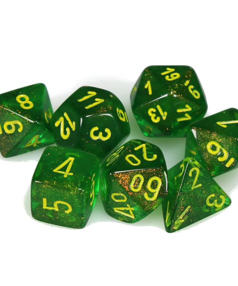 Chessex - CHX Chessex - Polyhedral 7-Die Set - Borealis - Maple Green w/ Yellow