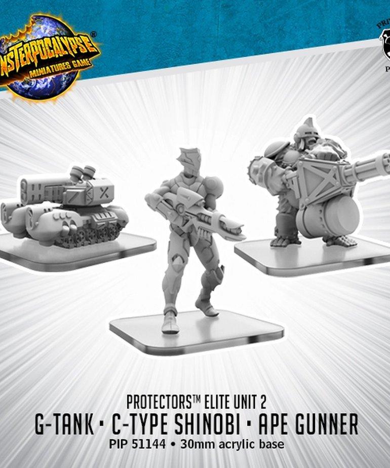 Privateer Press - PIP Monsterpocalypse - Protectors - G-Tank, C-Type Shinobi, & Ape Gunner - Alternate Elite Units