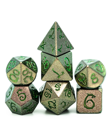 Udixi Dice - UDI Glitter Metal Dice w/ Green Dragon Font