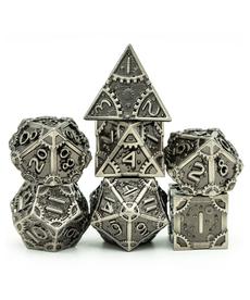 Udixi Dice - UDI Steam Punk Brushed Patina Metal Dice - Silver