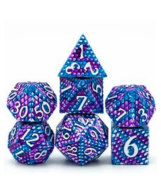 Udixi Dice - UDI Dragon Scale Metal Dice - Purple & Blue w/ White