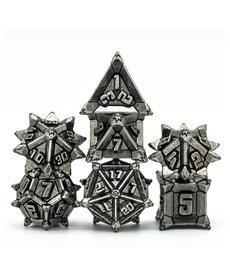 Udixi Dice - UDI Pinwheel Metal Dice - Vintage Silver