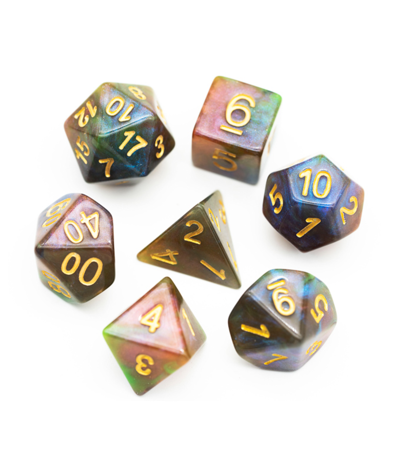 Udixi Dice - UDI Udixi: Dice - Polyhedral 7-Die Set - Galaxy Glitter Dice - Purple & Green
