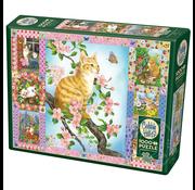 Cobble Hill Puzzles Cobble Hill Blossoms and Kittens Quilt Puzzle 1000pcs