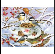 Cobble Hill Puzzles Cobble Hill Chickadee Tea Easy Handling Puzzle 275pcs