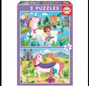 Educa Educa Unicorns & Fairies Puzzle 2 x 20pcs