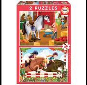 Educa Educa Horse Grooming Puzzle 2 x 48pcs