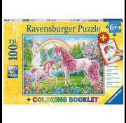 Ravensburger Ravensburger Magical Unicorns Puzzle 100pcs XXL + Coloring Book