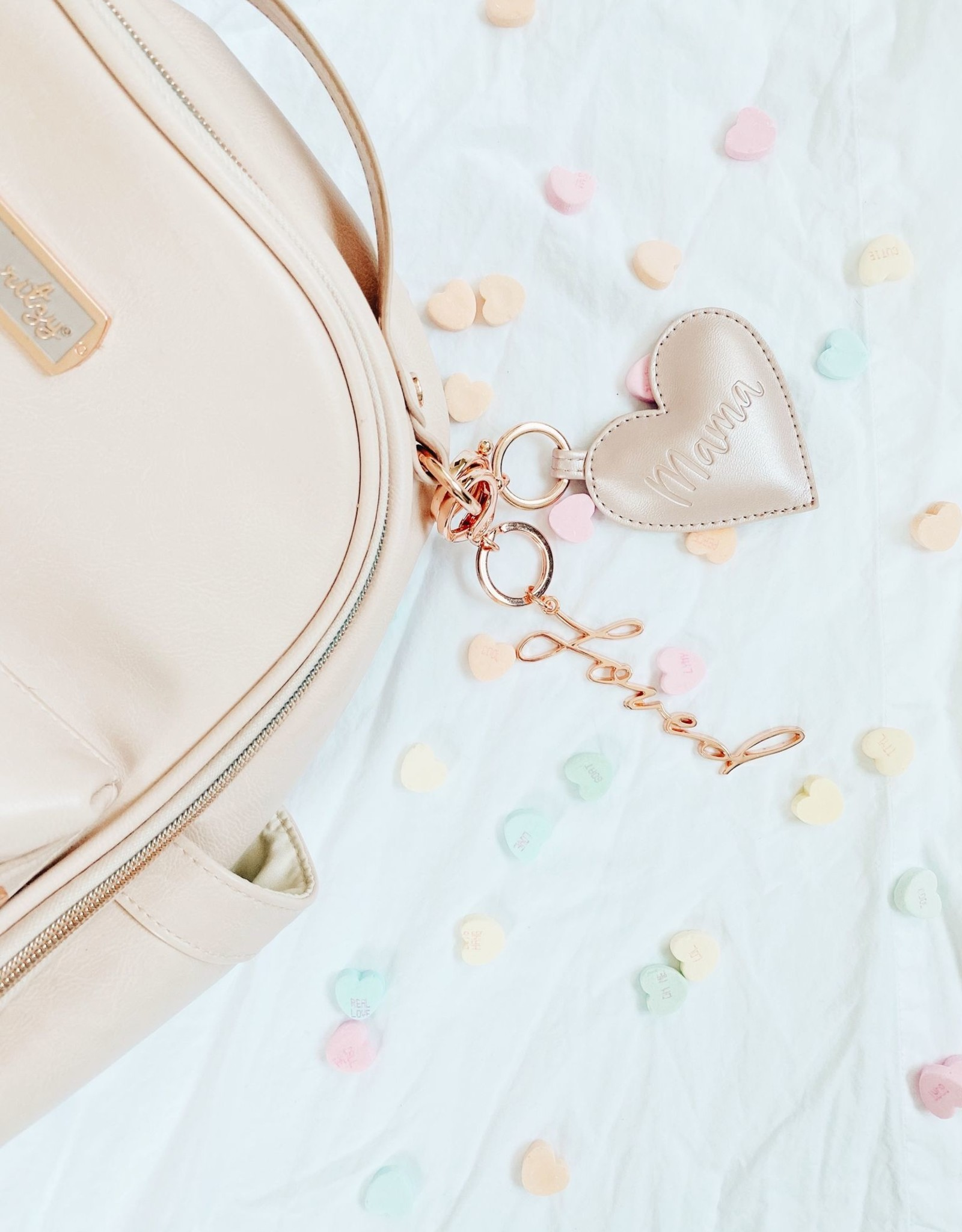 Itzy Ritzy Mama Heart Charm Rose Gold