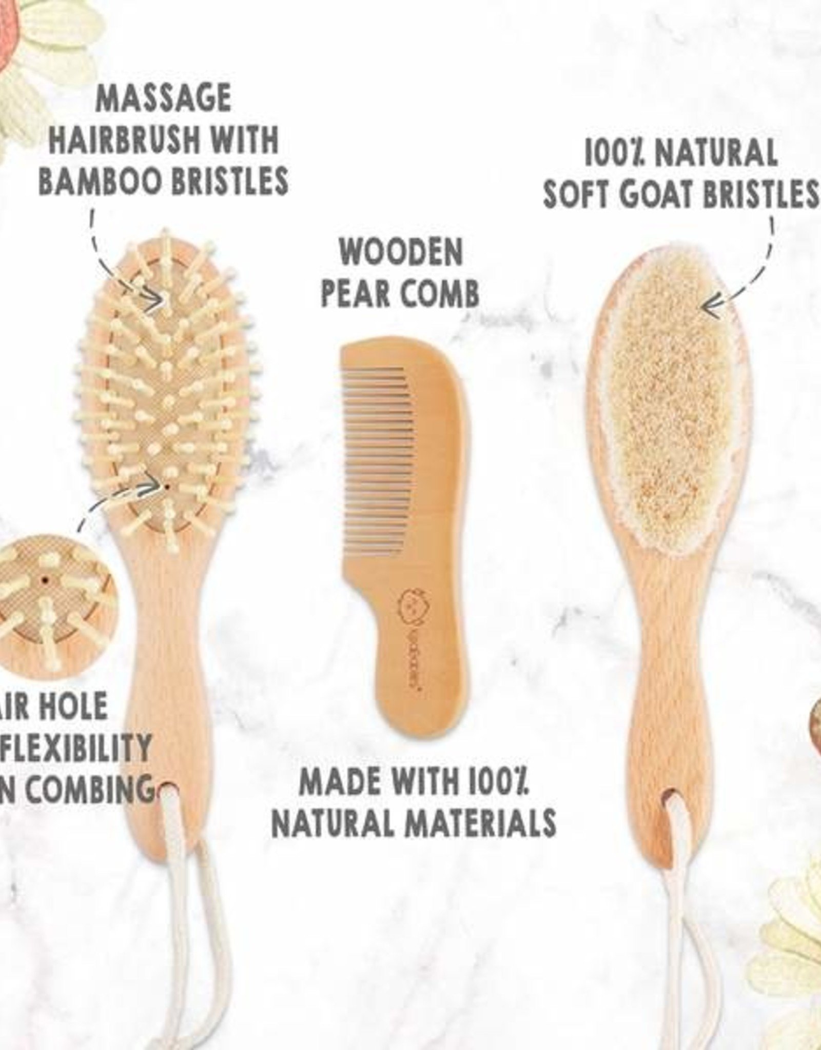 Baby Hairbrush & Comb 3 pc. Set