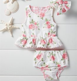 Mud Pie Rose Reversible Swimsuit & Headband Set