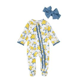 Mud Pie Blue Floral Sleeper & Headband Set  0-3 months