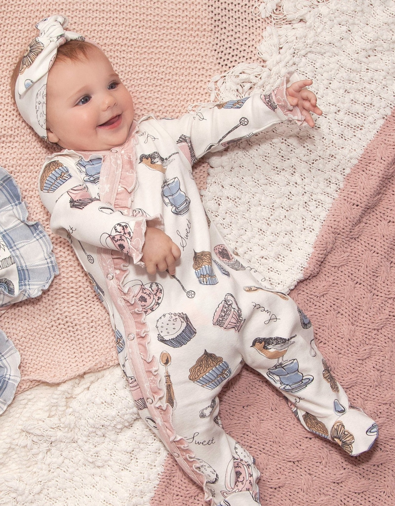 Cupcake Party Footed Romper & Headband
