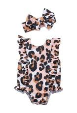 Mud Pie Leopard Swimsuit & Headband