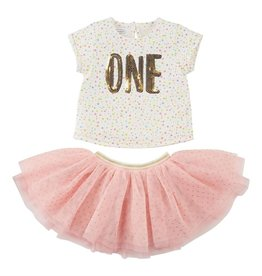 Mud Pie ONE Birthday Top & Tutu Set