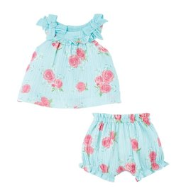 Mud Pie Blue Rose Pinafore Bloomer Set