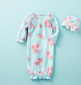 Mud Pie Blue Rose Take Me Home Gown Set