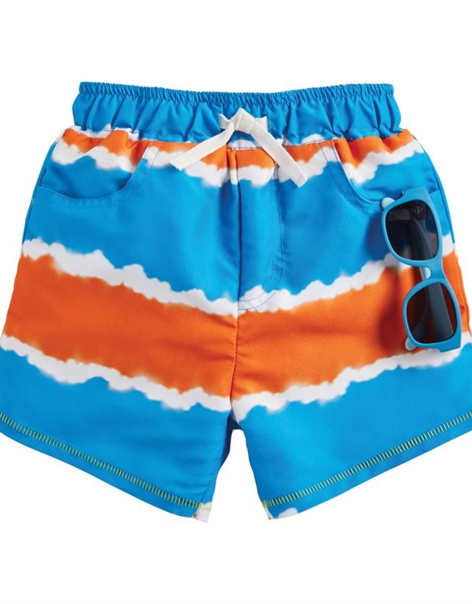 Mud Pie Tie Dye Stripe Swim Trunks w/ Sunglasses