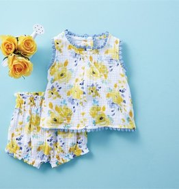 Mud Pie Floral Pinafore Bloomer Set 3-6 months