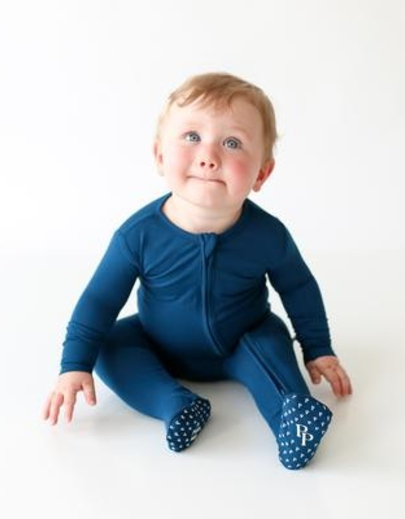 Posh Peanut Sailor Blue Zippered Footie