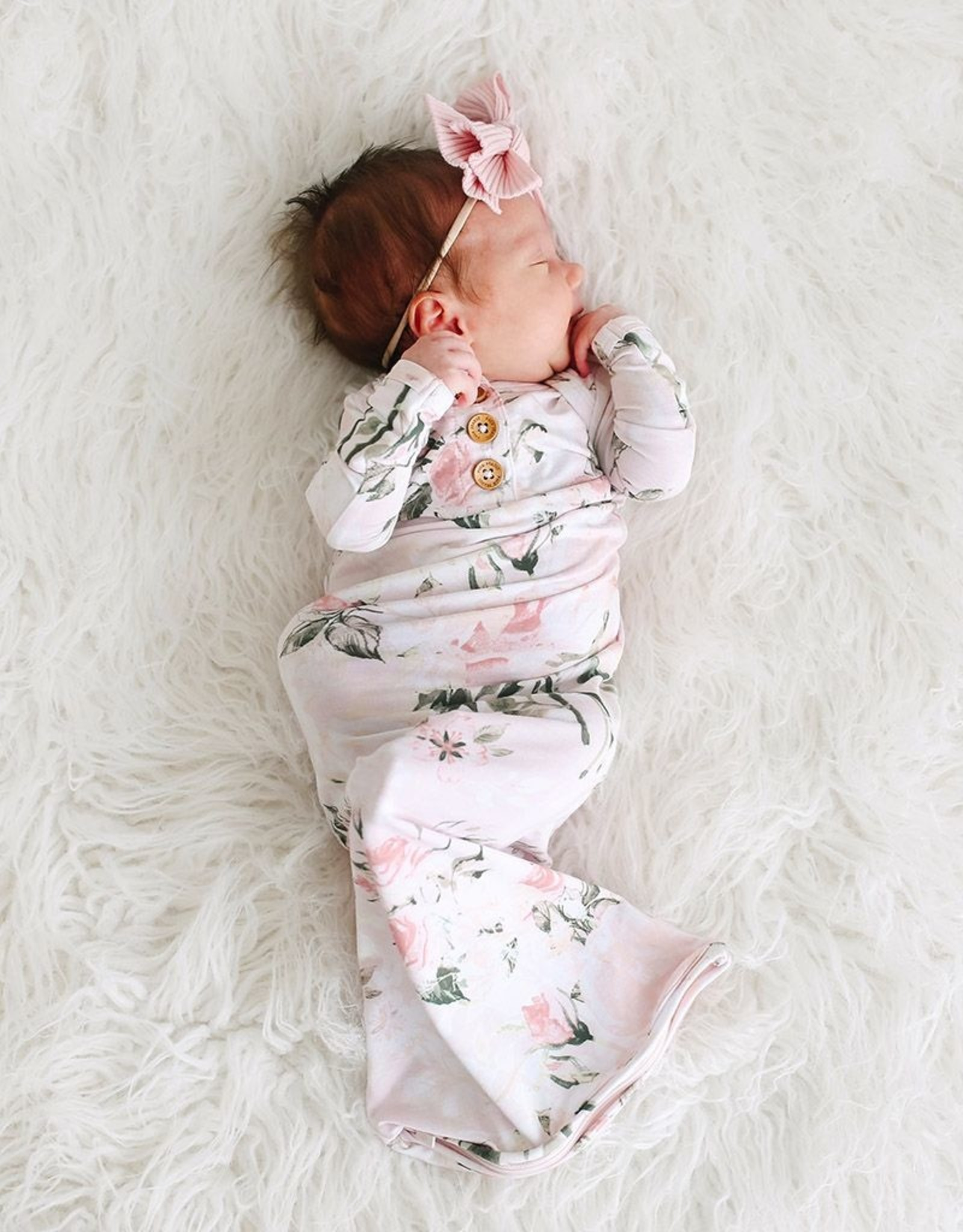 Posh Peanut Vintage Pink Rose Zippered Gown 0-3 mos.