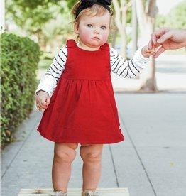 RuffleButts Red Corduroy Jumper Bow Dress